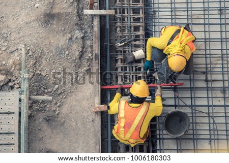 aerial view of construction worker in construction site ストックフォト ©