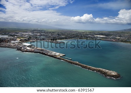 Aerial view of container port on Maui, Hawaii coastline.