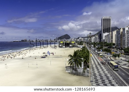 Aerial view of Copacabana Beach on sunny day