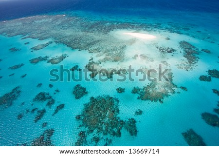Aerial view of coral sand cay of Great Barrier Reef, Queensland, Australia