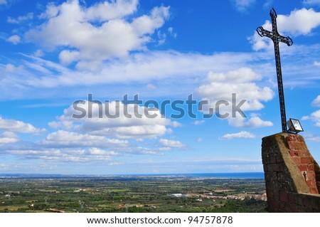 aerial view of Costa Daurada from Shrine of Virgin de la Roca in Mont-roig, Spain