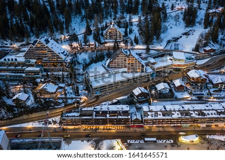 Aerial view of Crans-Montana village center with many like chalet style hotel and residence in Valais, Switzerland Photo stock ©