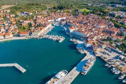 Aerial view of Cres, a town in Cres Island, the Adriatic Sea in Croatia
