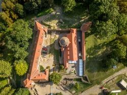 Aerial view of Cris (Keresd) Renaissance medieval Bethlen castle in Transylvania Romania