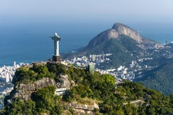 Aerial view of Cristo Redentor (Christ the Redeemer Statue) during a helicopter flight over Rio de Janeiro City, Brazil