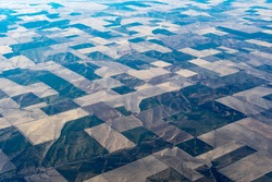 Aerial view of crop circles and crop squares from Idaho near the snake river. Circle shaped fields and square shaped fields