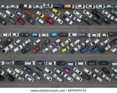 Aerial view of crowded car parking #689969476