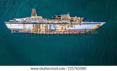 Aerial view of cruise ship shipwreck, Shipwrecked off the coast of Thailand