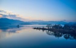 Aerial view of Daecheongho Lake at dawn near Cheongju-si, South Korea