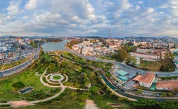 Aerial view of Dalat city. The city is located on the Langbian Plateau in the southern parts of the Central Highlands region of Vietnam