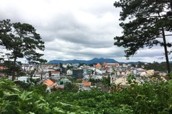 Aerial view of Dalat, Vietnam. Dalat is located in the South Central Highlands of Vietnam.