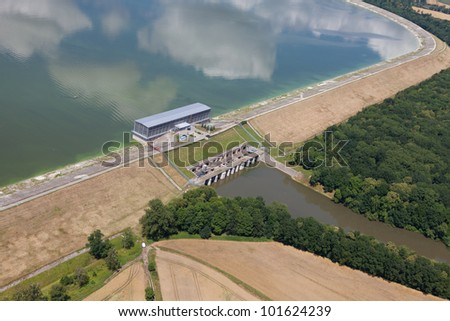 aerial view of dam and village landscape near Otmuchow town in Poland
