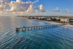 aerial view of dania beach pier in south florida at early morning