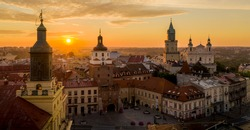 Aerial view of dawn over Old Town in Lublin, Poland