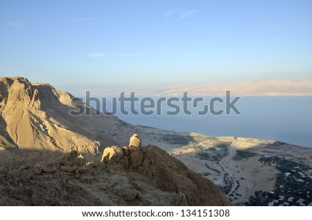 Aerial view of Dead Sea coast from Judea desert mountains, Israel.