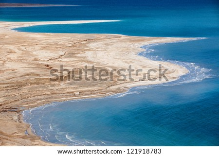Aerial view of Dead Sea coastline