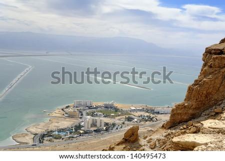 Aerial view of Dead sea resort hotels in Israel.