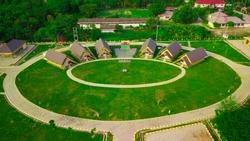 Aerial view of Deli Serdang Scouting Park. located in Lubuk Pakam-Deli serdang Medan, Indonesia.