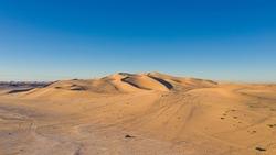 Aerial view of desert at the Libyan-Algerian-Tunisian border.