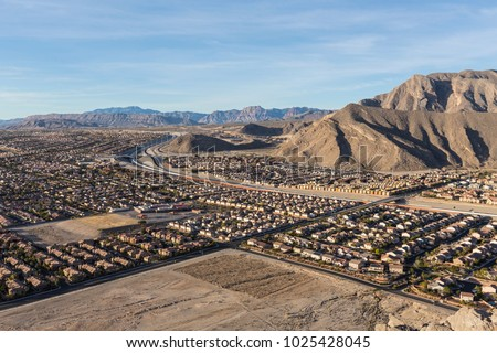 Aerial view of desert suburbia near Lone Mountain in Northwest Las Vegas Nevada.