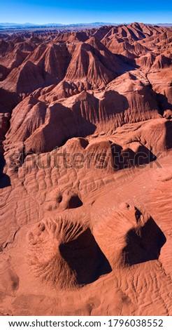 Aerial View of Desierto del Diablo (Devil desert) in Los Colorados of Tolar Grande region of La Puna highlands ecoregion of the Andes in Argentina, South America, America Stock fotó ©
