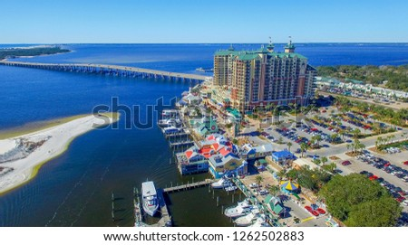 Aerial view of Destin cityscape and coastline, Florida.