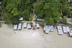 Aerial View of Devastated Coastal Area of Southern Part of Bangladesh after Super Cyclone Hit on night 20/21 May 2020