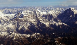 Aerial view of Dhaulagiri in the Himalayan mountains of Nepal