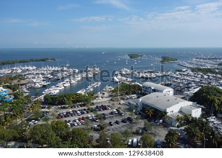 Aerial view of Dinner Key and Biscayne Bay in Coconut Grove, Florida near Miami