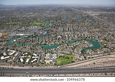 Aerial view of Dobson Ranch housing development in Mesa, Arizona looking South from the US 60 Superstition Freeway