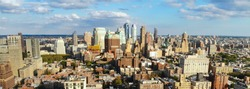 Aerial view of downtown Brooklyn. New York City. Brooklyn is the most populous of New York's five boroughs. Traditional building in Brooklyn Heights