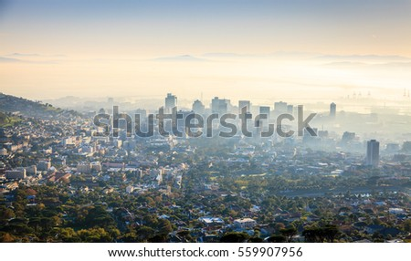 Aerial view of downtown Cape Town in morning fog