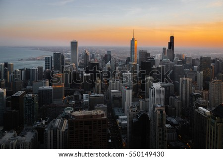 Aerial view of downtown Chicago at dusk, looking South. stock photo