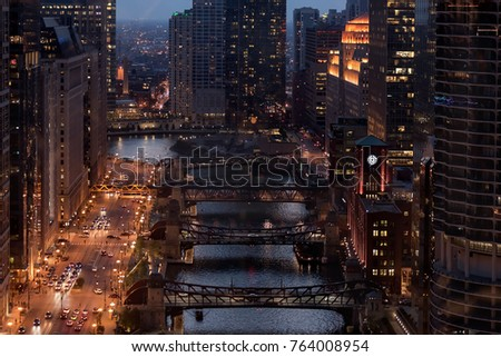 aerial view of downtown chicago ...