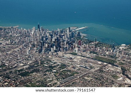 Aerial view of downtown Chicago with Lake Michigan