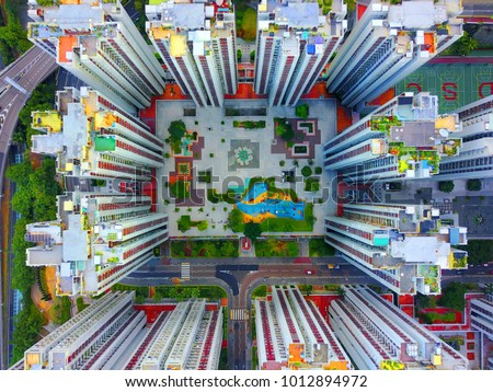 aerial view of downtown city and center living building condominium, express way at middle city of Hongkong #1012894972