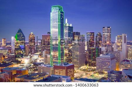 Aerial View of Downtown Dallas at Dusk - Dallas, Texas, USA stock photo