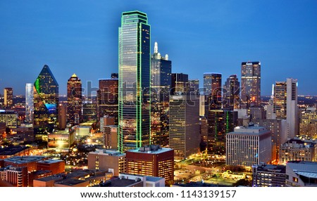 Aerial View of Downtown Dallas (Skyline) After Sunset - Dallas, Texas, USA  stock photo