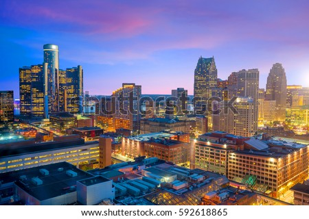Aerial view of downtown Detroit at twilight in Michigan USA #592618865