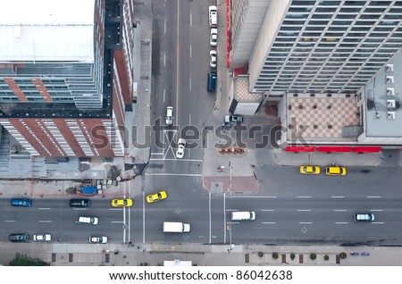 Aerial view of downtown intersection