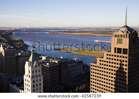 Aerial view of downtown Memphis, Tennessee, USA.