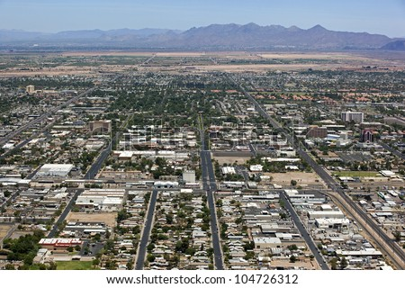 Aerial view of downtown Mesa, Arizona looking north