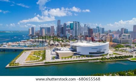 Aerial view of Downtown Miami, Florida. USA.