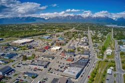 Aerial View of Downtown Palmer, Alaska during Summer
