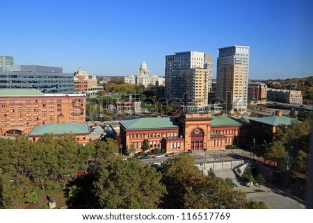 Aerial view of downtown Providence, Rhode Island, and the state capitol building