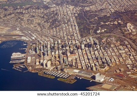 Aerial view of downtown San Diego, California, with Balboa Park and a part of San Diego Bay