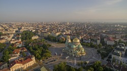 Aerial view of downtown Sofia, Bulgaria