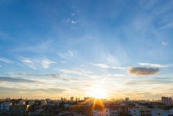 Aerial view of dramatic sunset or sunrise and blue sky in Bangkok Thailand of Asian.