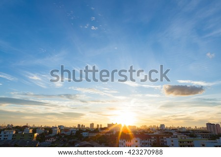Aerial view of dramatic sunset or sunrise and blue sky in Bangkok Thailand of Asian. #423270988