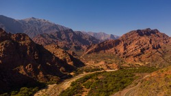 Aerial view of drones from Northern Argentina, mountains, valleys, routes and peaks.